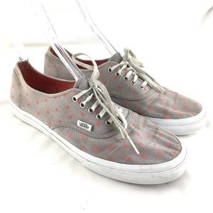 Sneakers skate shoes canvas gray red polka dot low